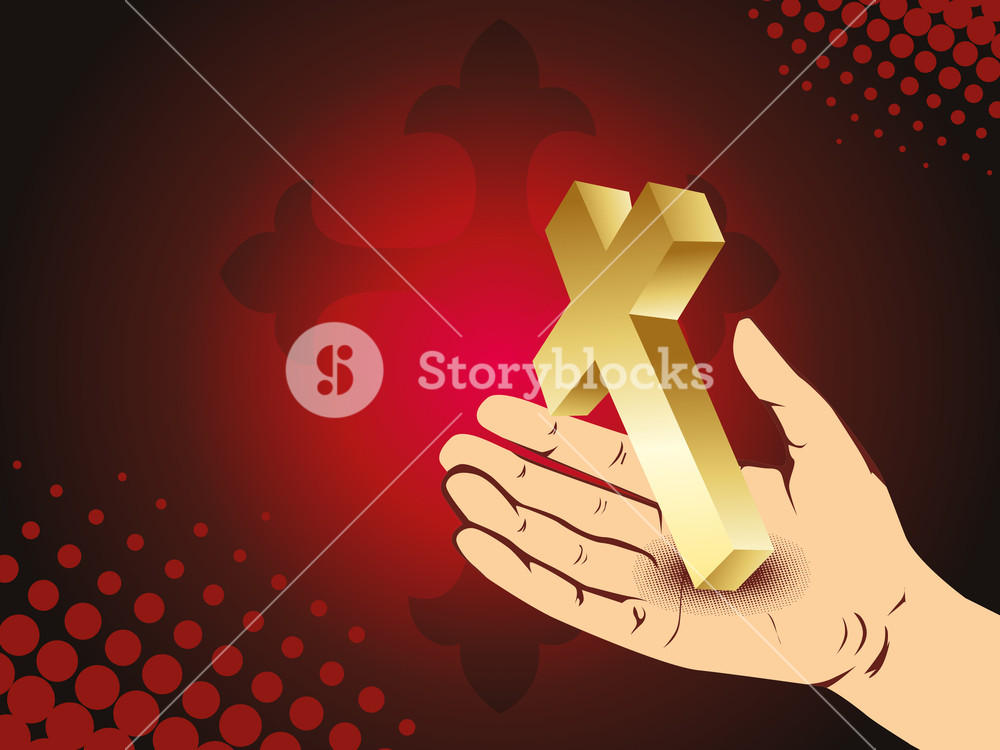 Background With Hand Holding Golden Cross