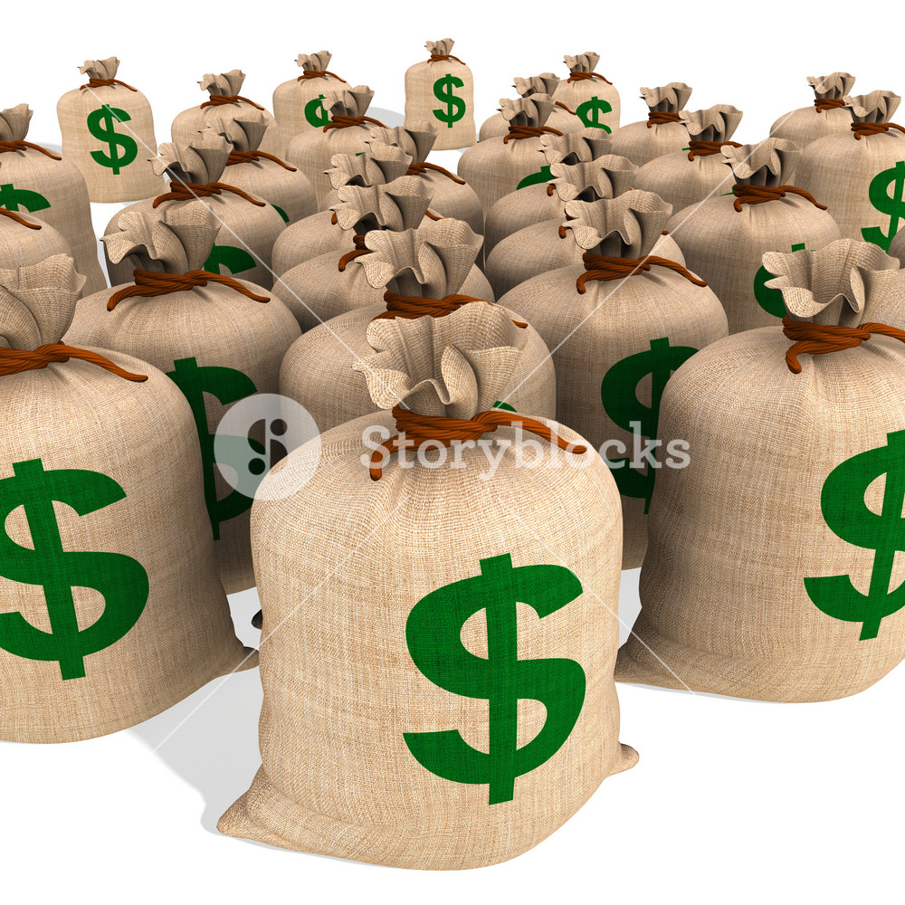 Bags Of Money Showing American Finances