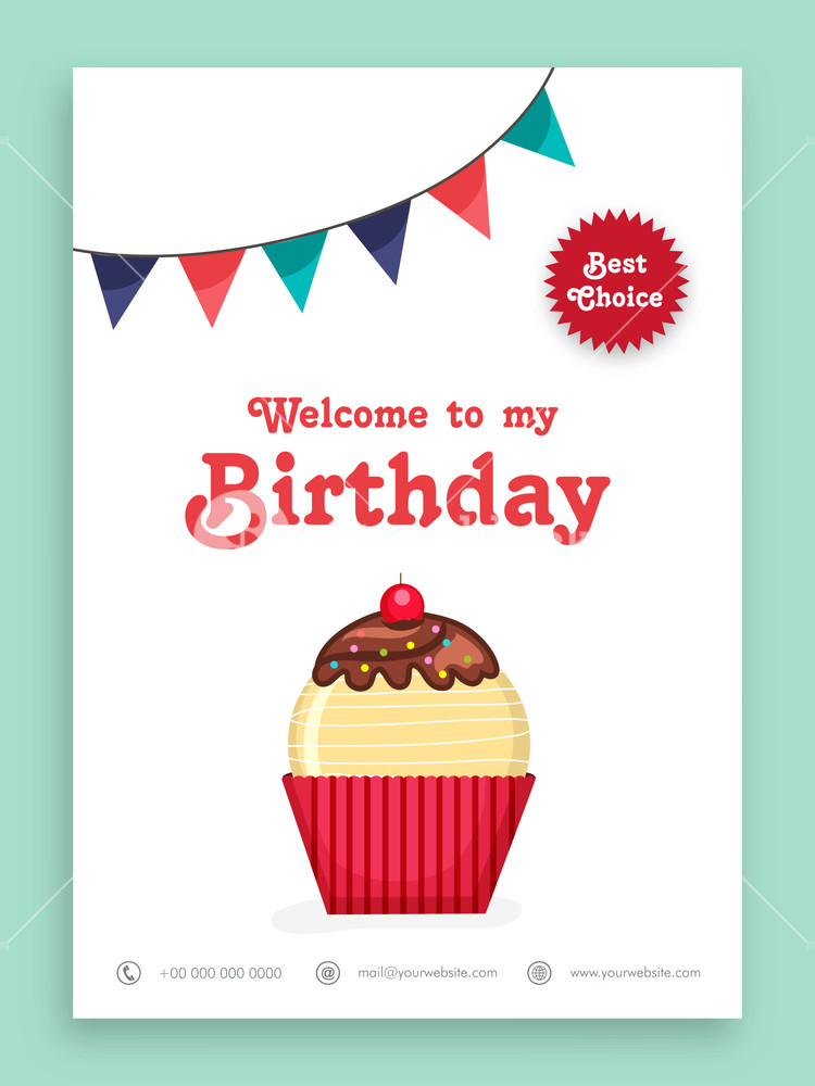 Beautiful invitation card design for Birthday Party celebration decorated with sweet cupcake and colorful buntings.