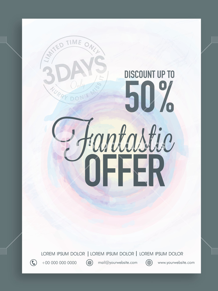 Beautiful Sale poster banner or flyer design with fantastic offer for limited time.