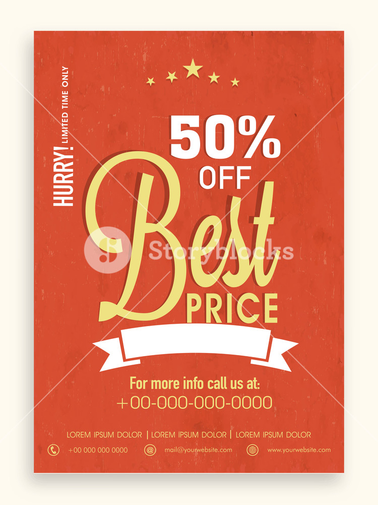 Best price in limited time sale flyer banner or template with discount offer.