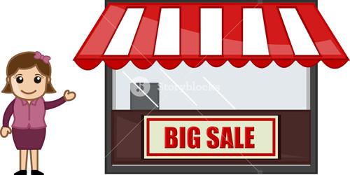 Big Sale Shop - Vector Character Cartoon Illustration