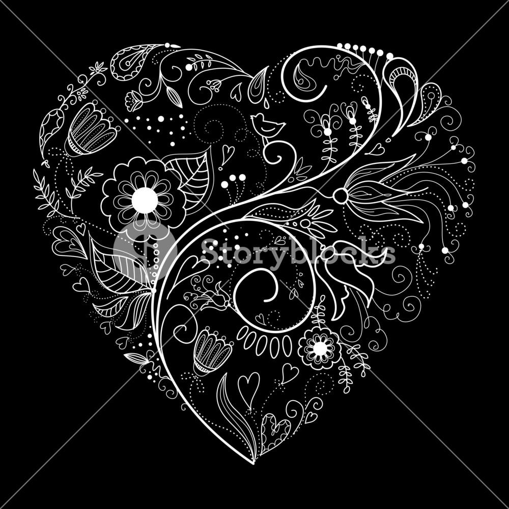 Black And White Valentine Heart Illustration.-