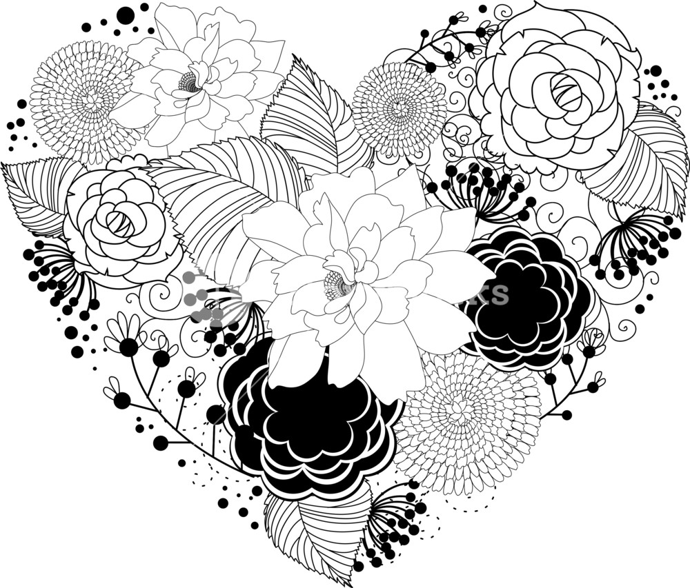 Black Heart With Floral Ornament