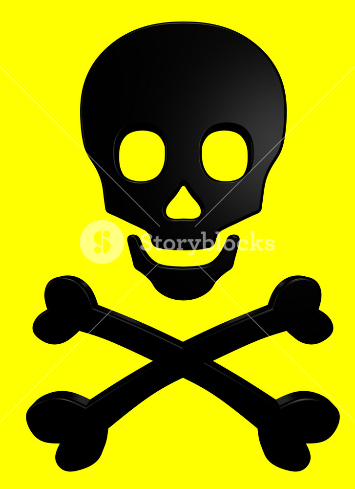 Black Skull And Crossbones On The Yellow Background.