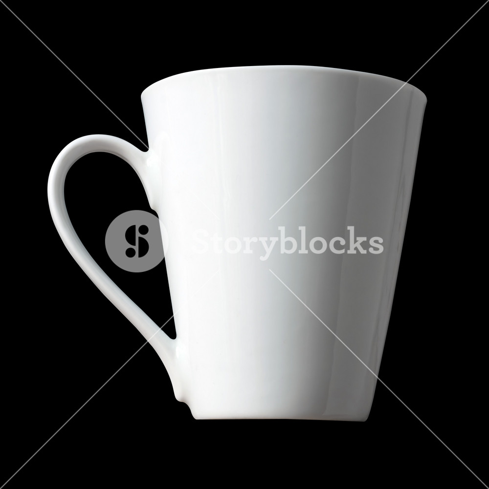 Blank White Coffee Cup Isolated Over A Black Background