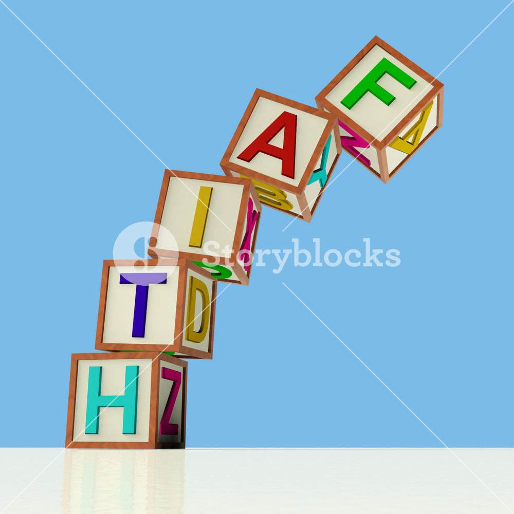 Blocks Spelling Faith Falling Over As Symbol For Lack Of Trust