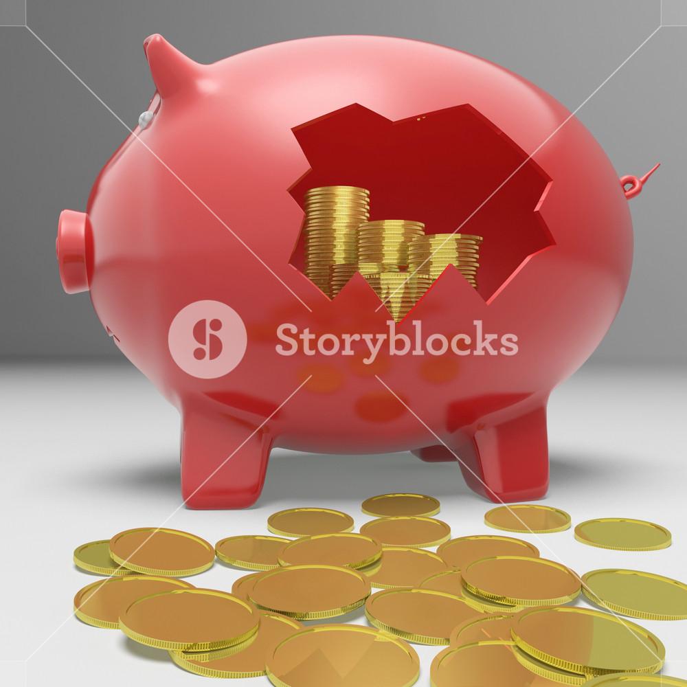 Broken Piggybank Showing Financial Savings
