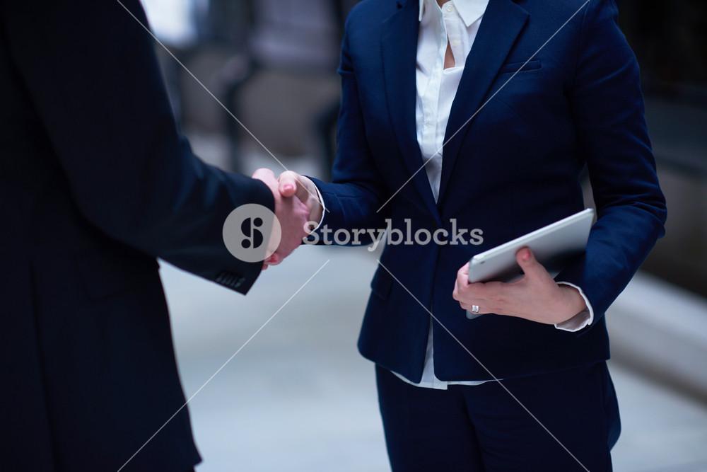 Business Man And Woman Hand Shake