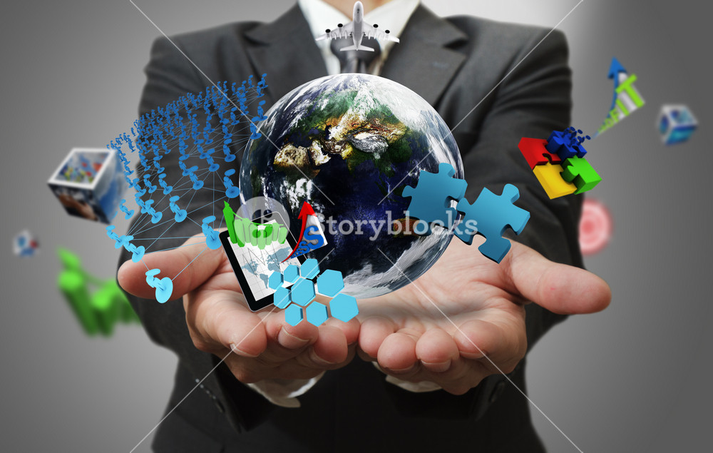 Business Man Hand Shows The World Of Business As Concept