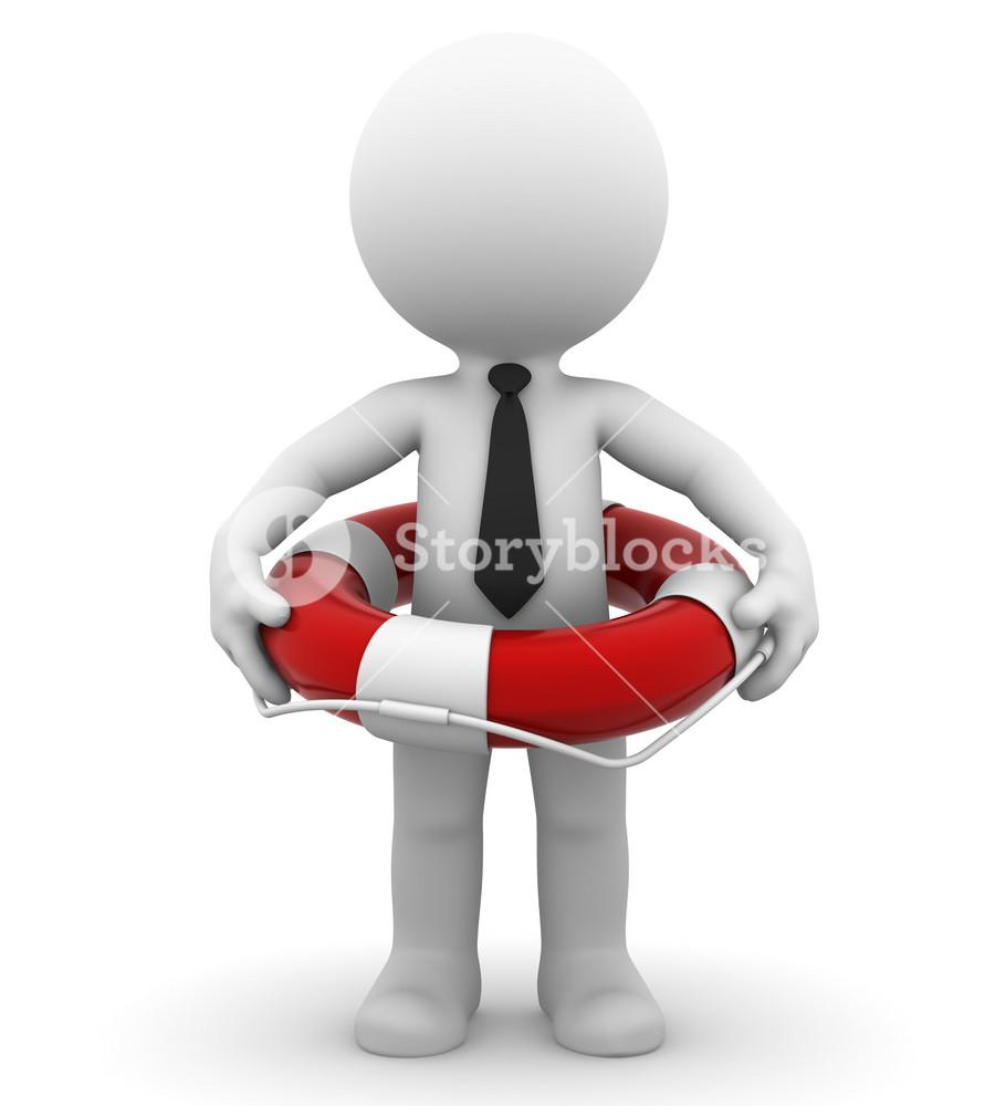 Businessman With Lifebuoy