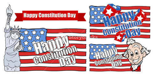 Cartoon Designs For Usa  Constitution Day Vector Illustration