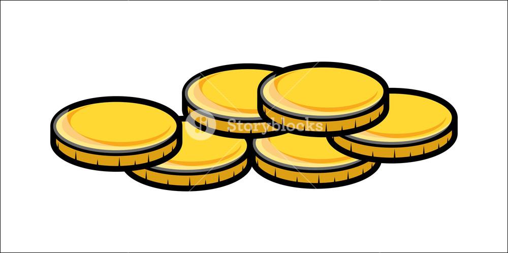 Cartoon Gold Coins Clipart - Vector Illustration