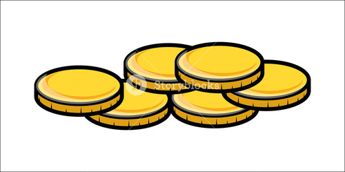 Cartoon Gold Coins Clipart - Vector Illustration