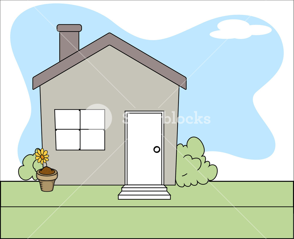 Cartoon House Vector Background