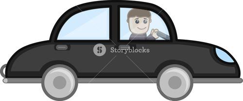 Cartoon Vector - Driving Car