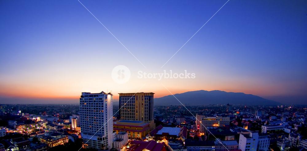 Chiang Mai sunset night view