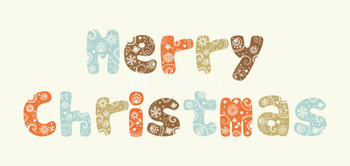 Christmas Background With Vintage Letters