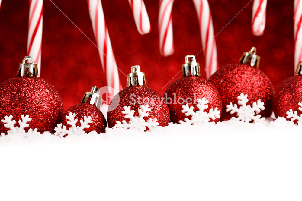Christmas card with decorative baubles