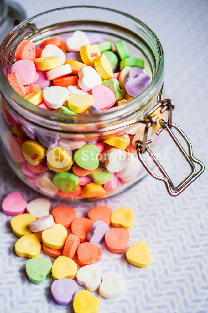 Closeup Of Heart Candies With Message