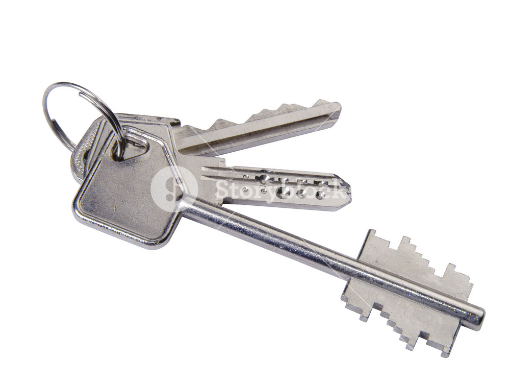 Closeup Of Silver House Keys On A Keyring. Metaphor For Real Estate, Security, Investments, Home Ownership, Etc.