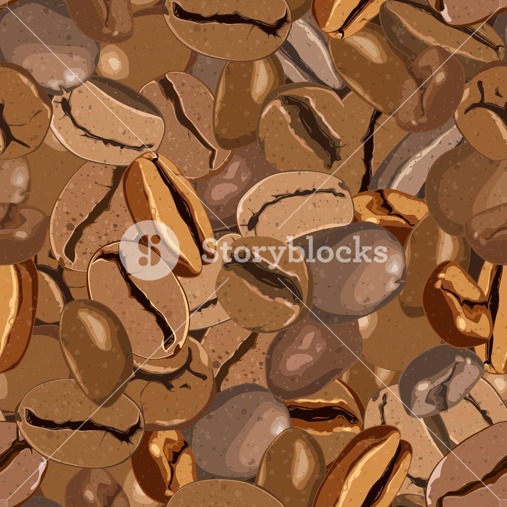 Coffee Beans Seamless Texture. Vector Illustration