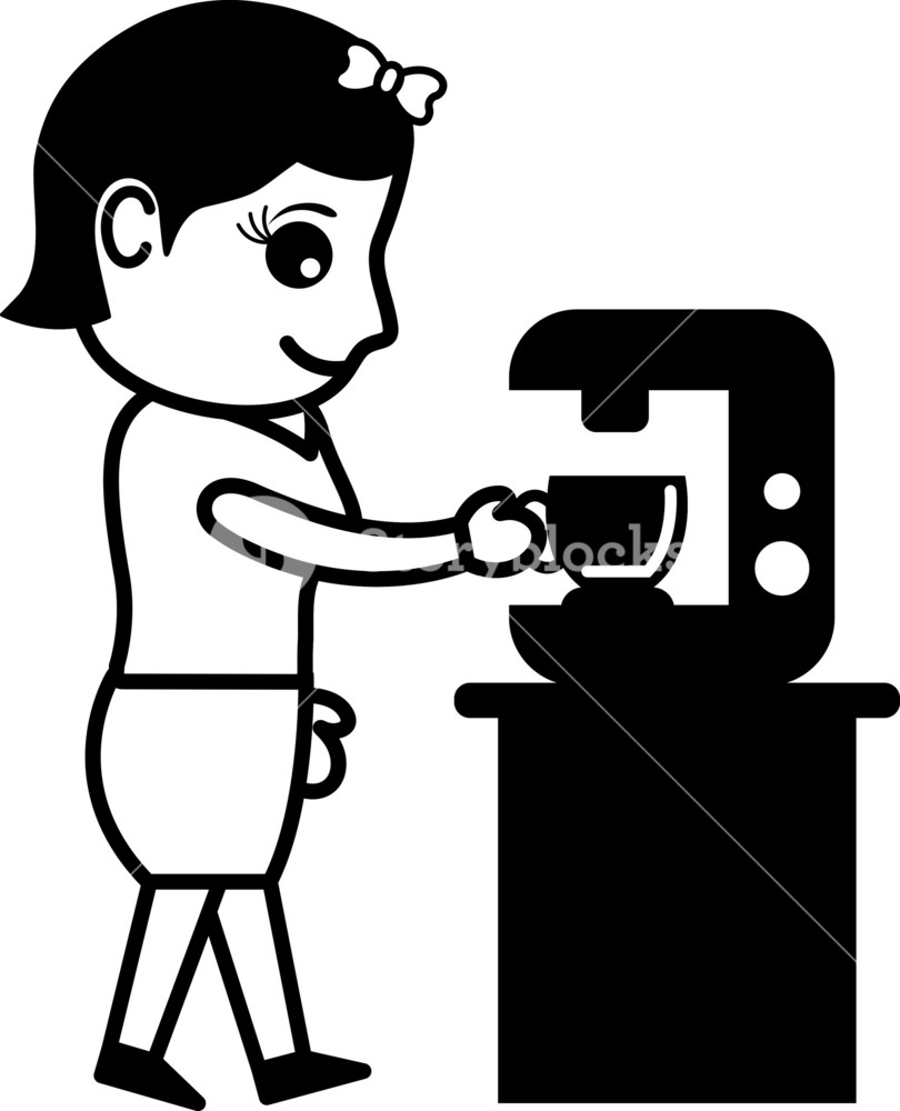 Coffee Machine - Office Character - Vector Illustration