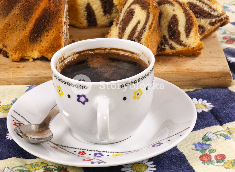 Coffee With Sliced Marble Cake