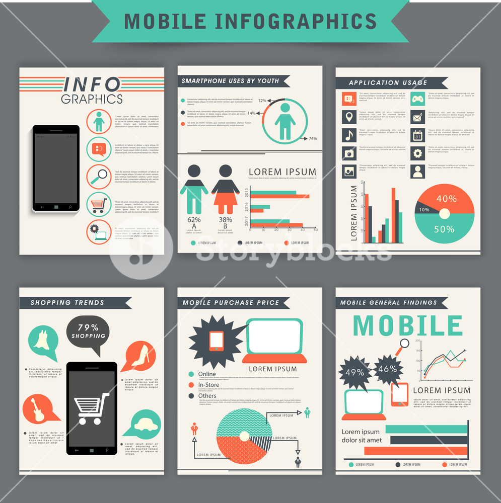 Collection of mobile infographic template