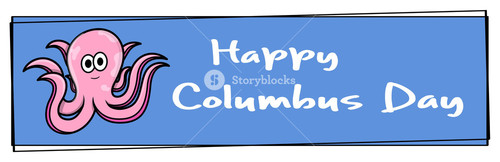 Columbus Day Octopus Banner