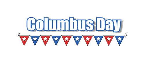 Columbus Day Paper Flags Banner Vector