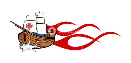 Columbus Day Sailing Boat Vector Graphic