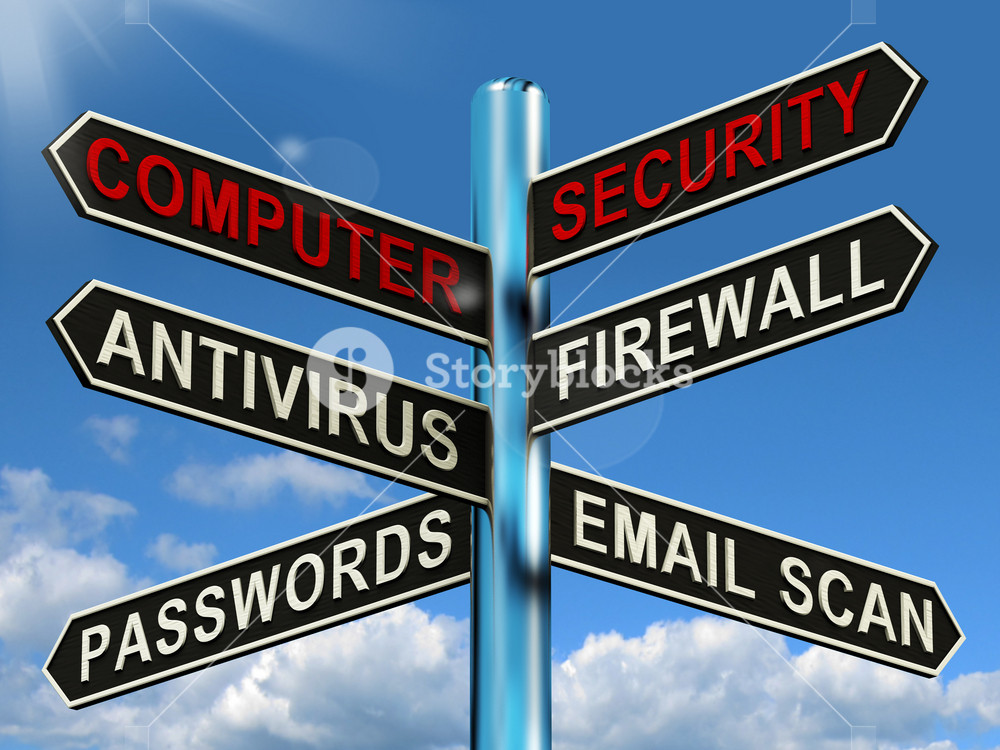 Computer Security Signpost Shows Laptop Internet Safety Royalty Free Stock Image Storyblocks
