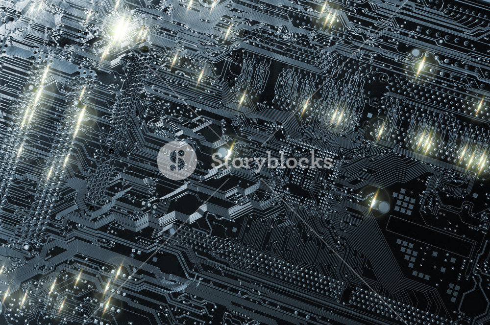 computers circuit-board, chips and electrodes