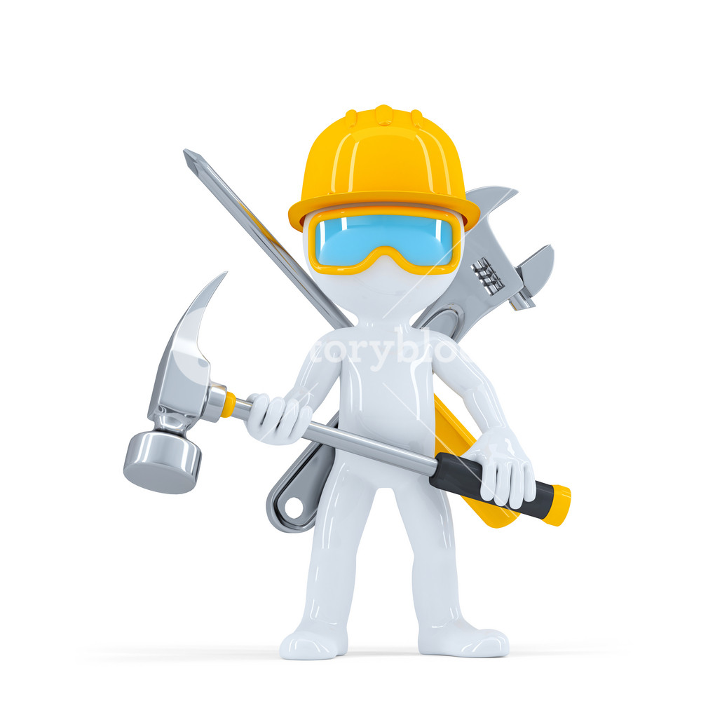 Construction Worker/builder With Hammer.