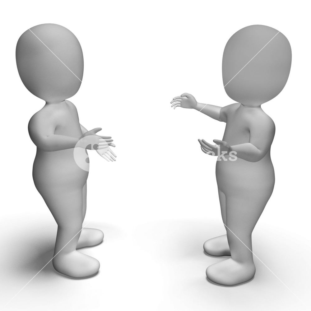 Conversation Between Two 3d Characters Showing Communication