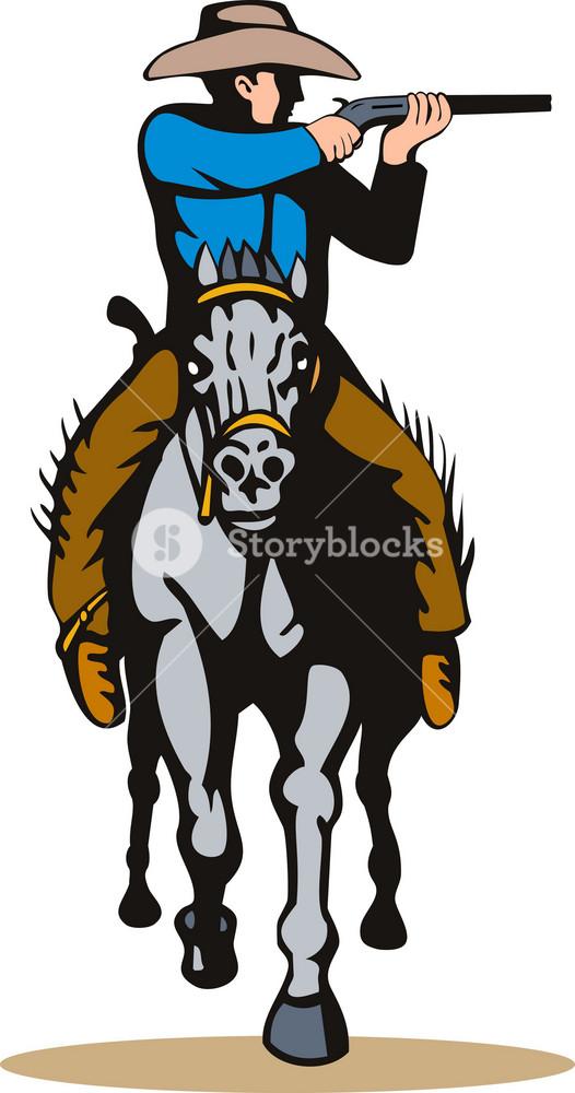 Cowboy Horseback With Rifle