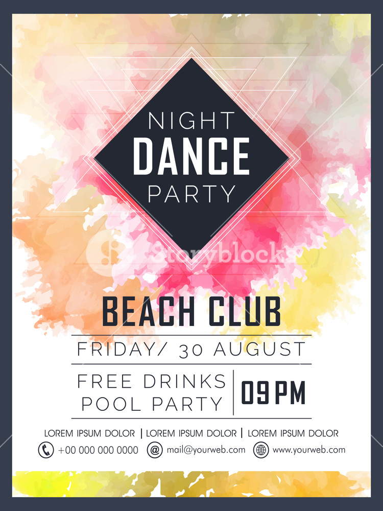 Creative Dance Party celebration flyer banner or template design with colorful splash.