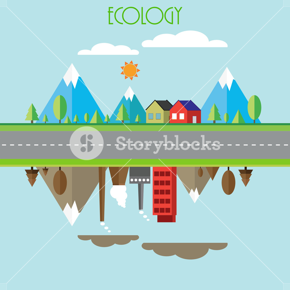 Creative ecology infographic template layout with illustration of a industrial city on sky blue background.