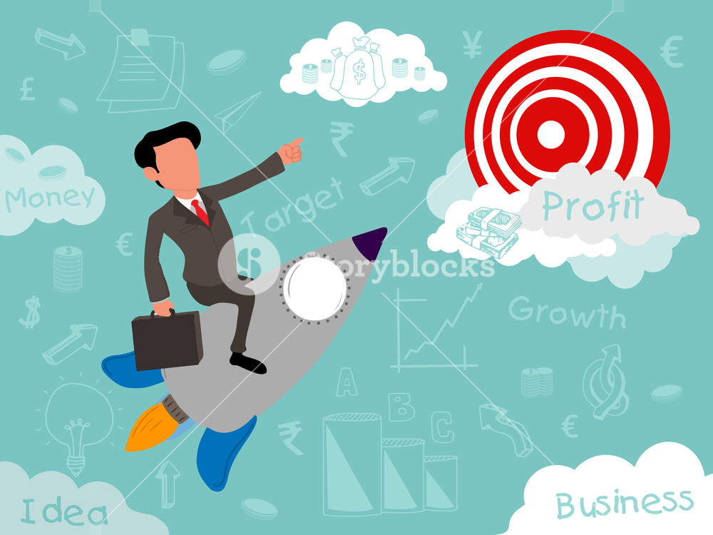 Creative start up business infographic layout with illustration of a businessman flying on rocket for trying to reach his successful goal and target.