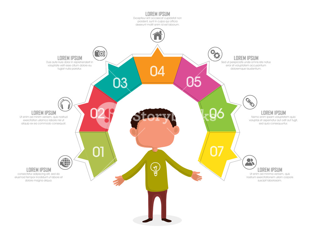 Creative stylish business infographic colorful layout with a young man for Idea concept.