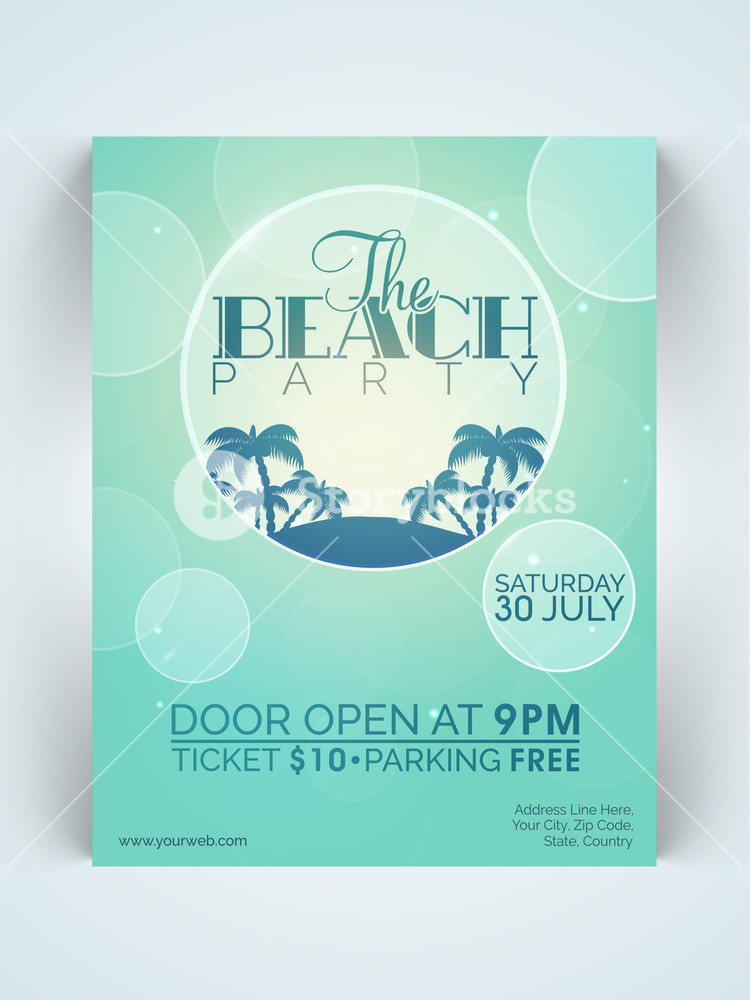 Creative stylish one page Flyer Banner or Template for Beach Party celebration with date and time details.
