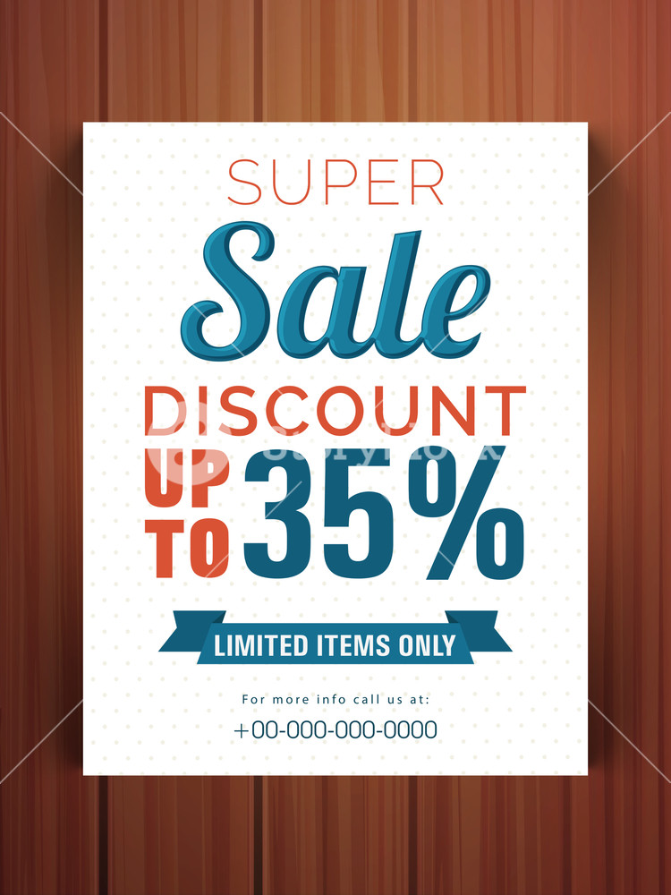Creative Super Sale flyer banner or template with 35% discount offer for limited times only.