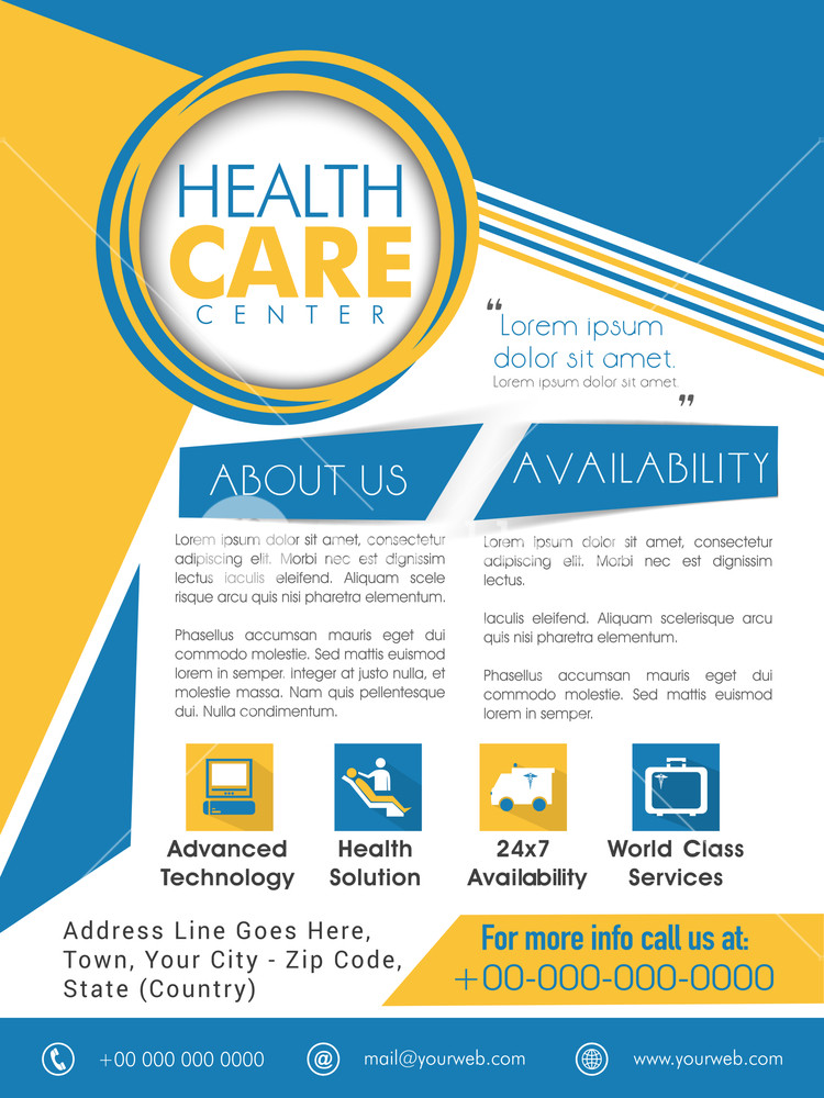 Creative Template Brochure or Flyer design with medical icons for Health Care Center.