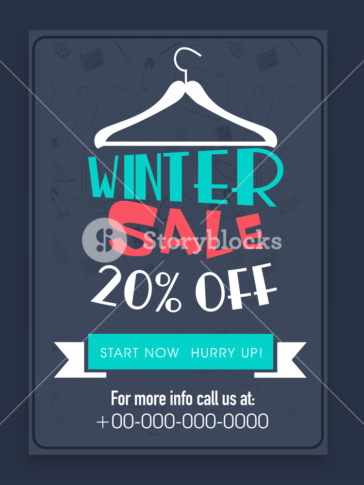 Creative Winter Sale flyer banner or template with 20% discount offer.