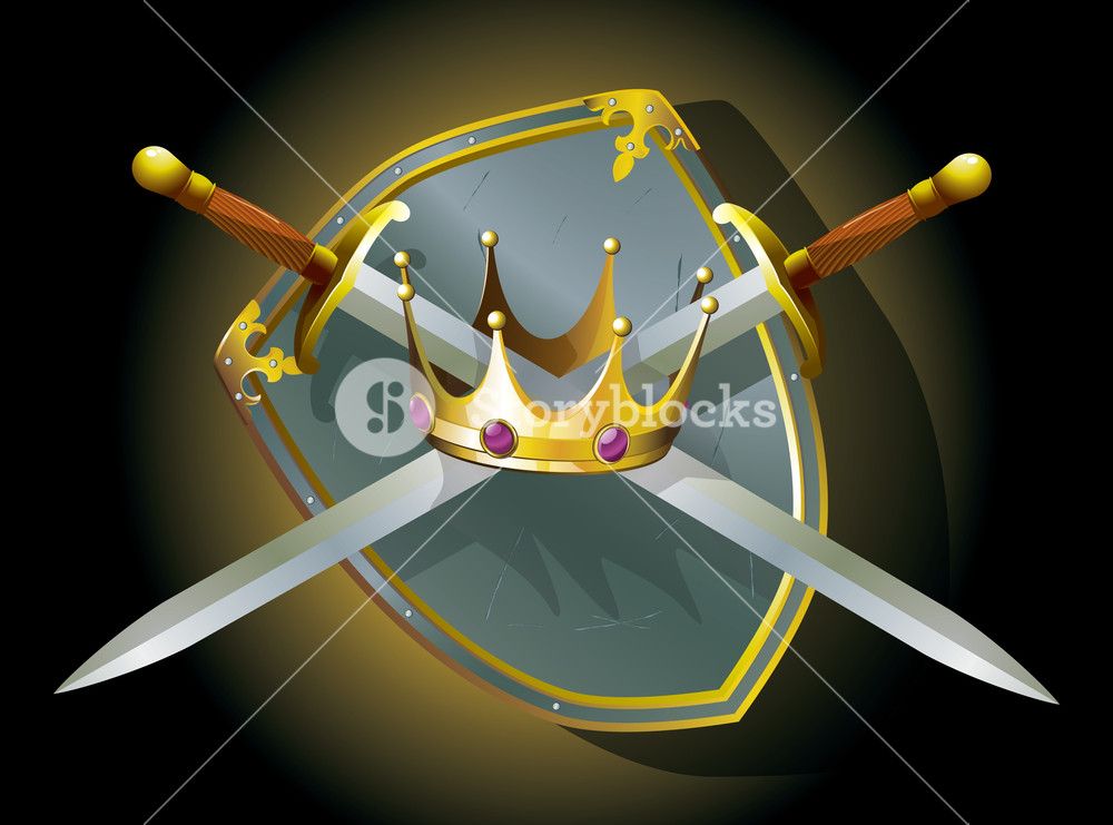 Crown And Swords. Vector.