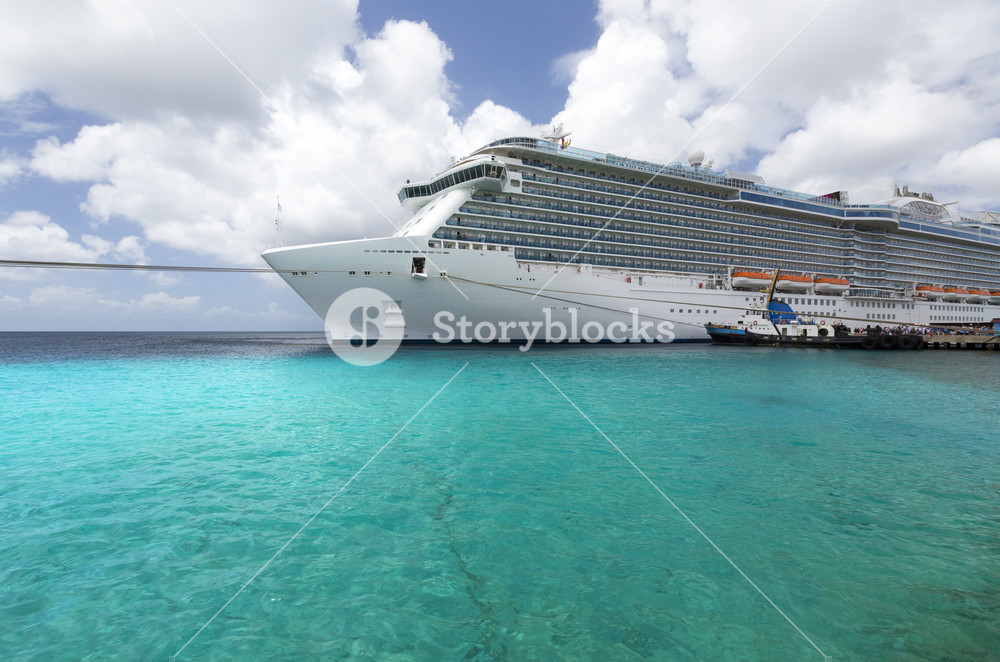 Cruise ship in tropical waters
