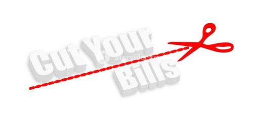 Cut Your Bills 3d Text Banner