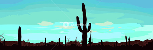 Desert Landscape With Cactus. Vector Illustration.