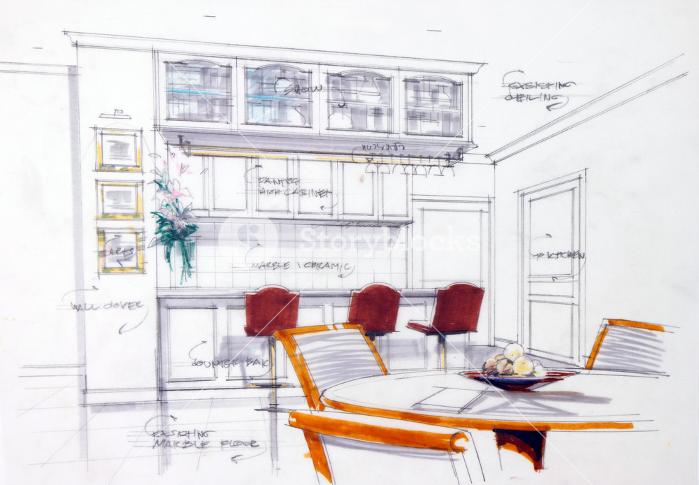 Design Sketch Of Kitchen Interior Royalty Free Stock Image Storyblocks